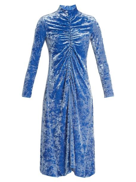 Tibi dress velvet dress high velvet blue