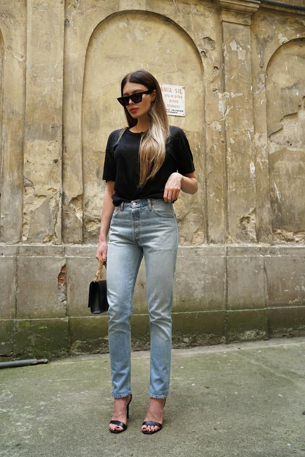 4f5b587251 sunglasses jeans denim black top sandals bag black sunglasses celine  sunglasses