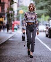 jeans,grey jeans,straight jeans,high waisted jeans,shoes,handbag,cropped sweater,turtleneck sweater