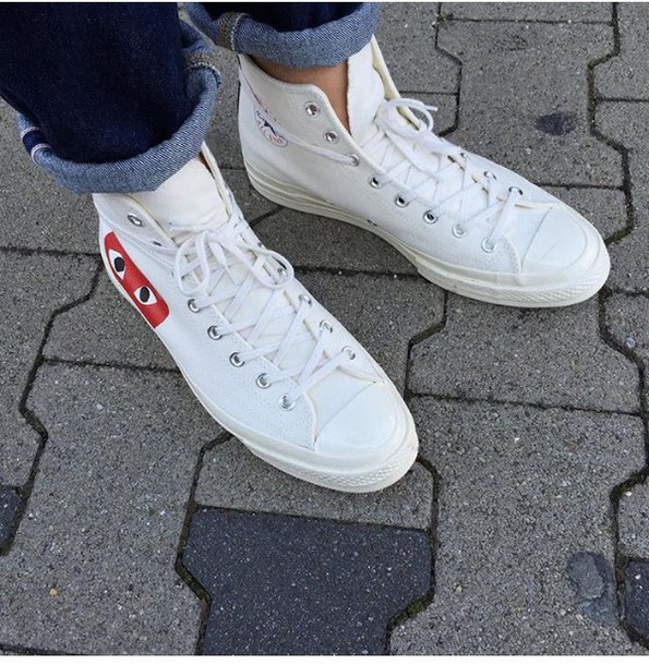 shoes, white, sneakers, converse, converse sneakers, comme ...