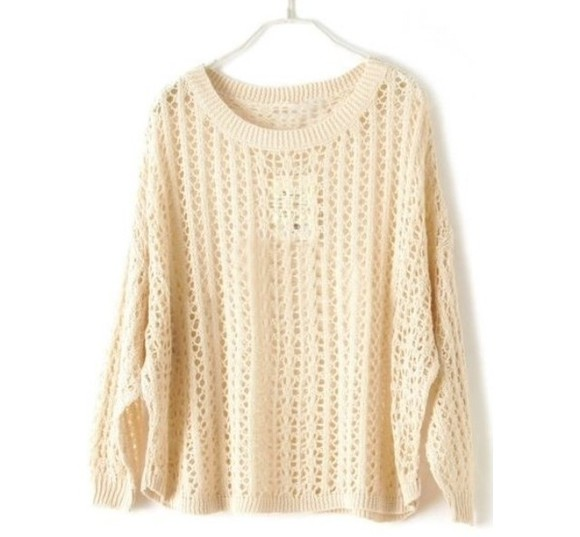 sweater jumper cream wooly winter pretty