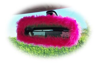 home accessory car accessories fluffy cute girly barbie mirror cover faux fur pink