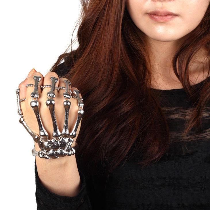 Skeleton Hand Finger Bone Bracelet Ring