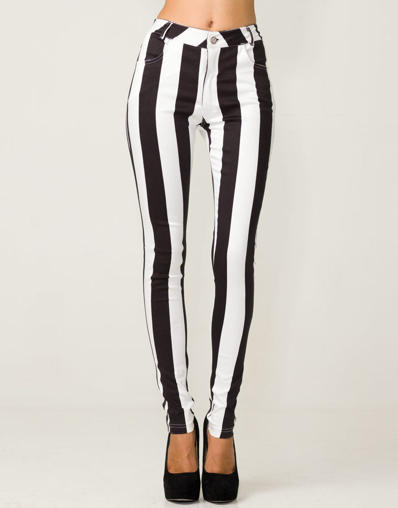 TOPSHOP Motel Rocks Striped Jordan Jeans Black White Vertical BNWT UK s 8 10 | eBay