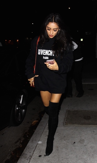 sweater shay mitchell over the knee boots sweater dress fall outfits