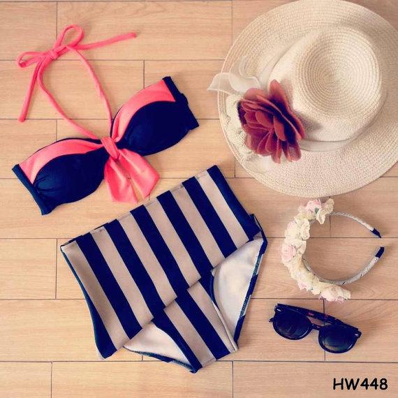 Ribbon bandeau high waist bikini by cheekychicclub on etsy