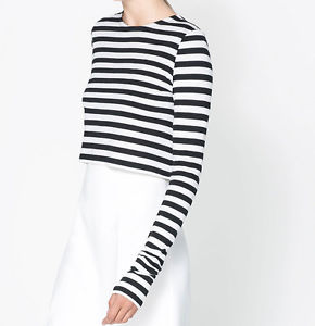 Zara Striped Cropped T Shirt Long Sleeve Crop Top Black White – Sz S | eBay