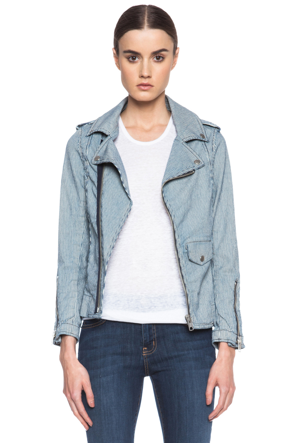 Nili Lotan|Denim Biker Jacket in Natural & Navy