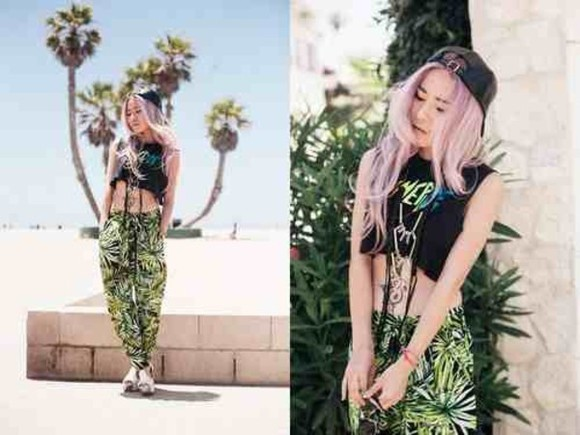 hat jewels top kawaii black kawaii grunge soft grunge fashion t-shirt shirt pastel grunge tank top pants tropical