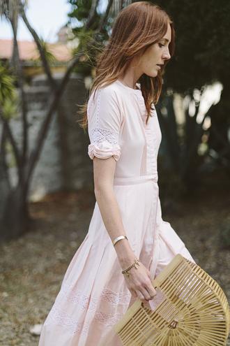 could i have that blogger bag pink dress long sleeve dress lace dress spring dress summer dress