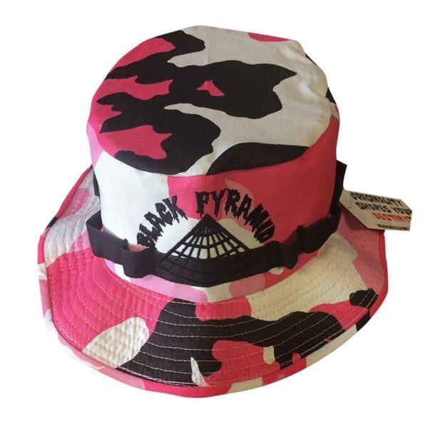 hat black pyramid bucket hat chris brown camouflage