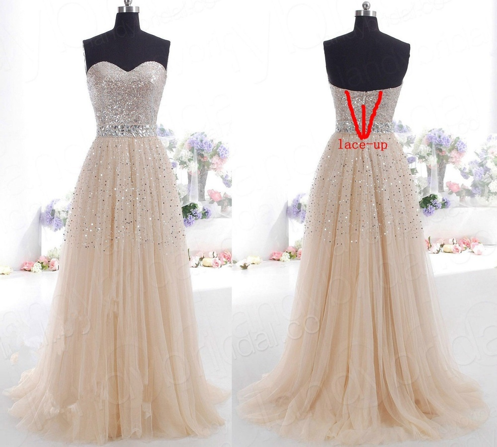 Champagne Sequins Formal Evening Prom Long Dress