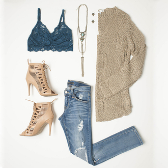 fall outfits outfit idea cute outfits lace bralette petrol boho jewelry nude high heels ripped jeans jeans beige sweater knitted sweater jumper peep toe heels lace up boots leather shoes