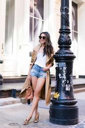 coat,trench coat,pumps,bag,denim shorts,top,sunglasses