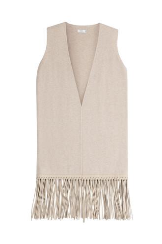 vest leather wool beige jacket