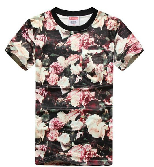 flowers floral supreme black t-shirt pink