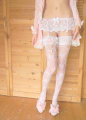 underwear,thigh highs,knee high socks,garter belt,lingerie,lingerie set,lace,white,white lingerie
