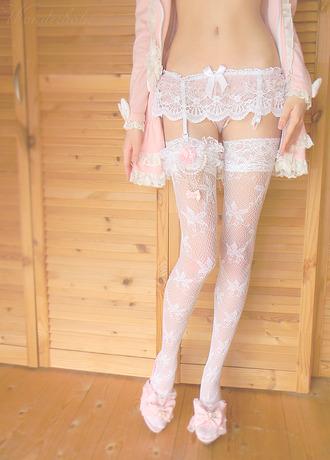 underwear thigh highs knee high socks garter belt lingerie lingerie set lace white white lingerie