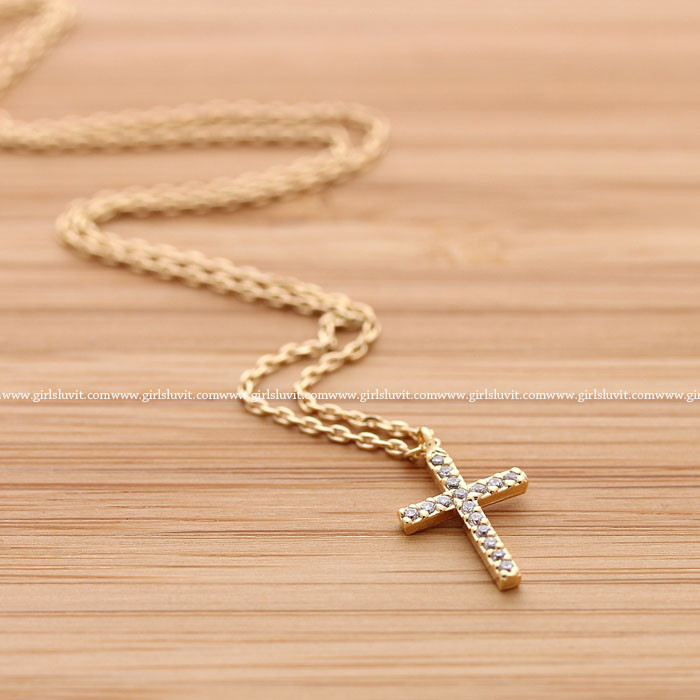 Simple cross necklace with crystals, 2 colors