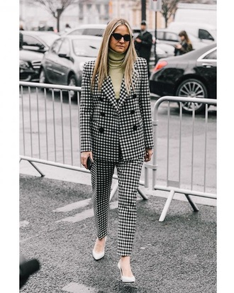 jacket blazer pants printed pants shoes sunglasses bag gingham two-piece two piece pantsuits matching set streetstyle
