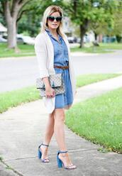kim tuttle,the knotted chain - a style blog by kim tuttle,blogger,cardigan,dress,jeans,shoes,belt,sandals,high heel sandals,denim dress,fall outfits,spring outfits