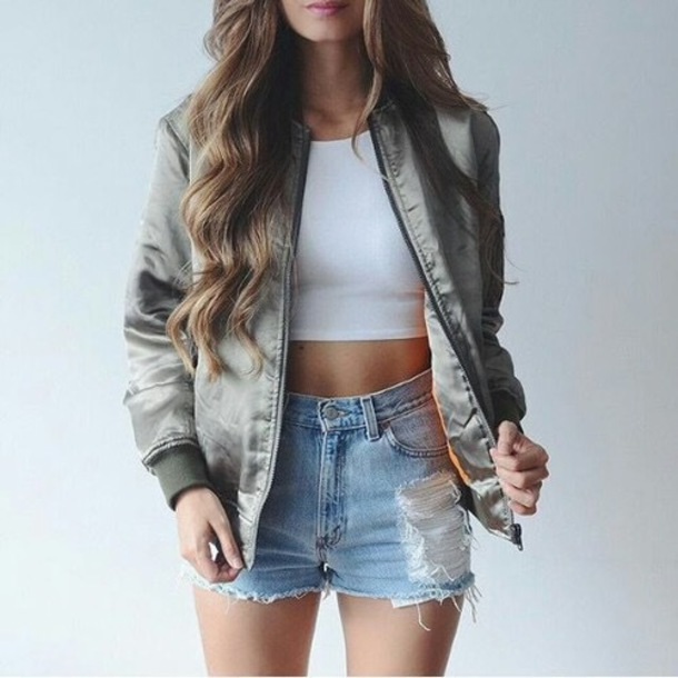 Jacket bomber jacket army green jacket shirt white crop tops cropped shorts ripped ...