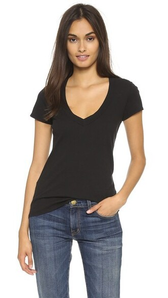 short v neck black top