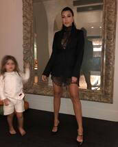 shoes,kourtney kardashian,dress,people's choice awards,mini dress,little black dress,lace dress,blazer,black blazer