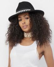 hat,wide brim hat,black,black hat,fedora,black fedora,wool,wool hat