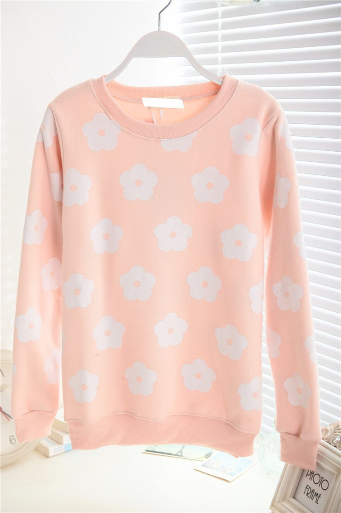 2014 autumn and winter Sky Blue sweet loose pullover o neck long sleeve plus velvet sweatshirt female-inHoodies & Sweatshirts from Apparel & Accessories on Aliexpress.com