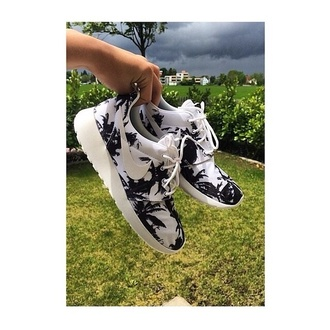 shoes nike roshe run black and white trees palm tree roshe palm tree roshe runs nike florals roshe runs sparkly nike
