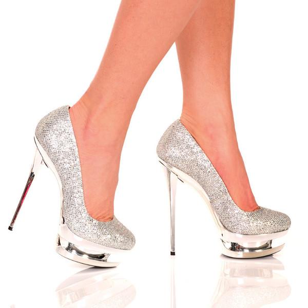 Silver Woven Glitter Pump | Yallure