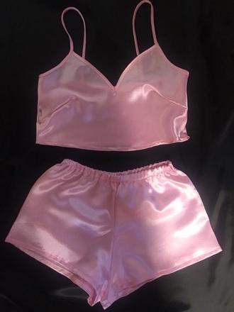 shorts silk satin pink pajamas pink silk shorts and bra pink underwear pink silk