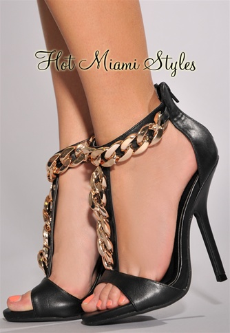 Black Gold Link Chain Decor High Heel Sandals
