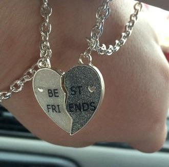 jewels bff bestfriend necklace best friends bracelet bracelets jewelry hand jewelry silver jewelry
