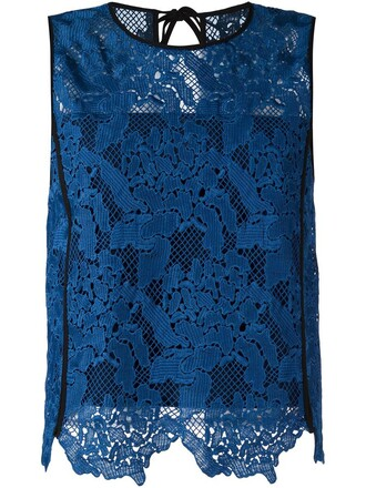 top lace top embroidered lace floral blue