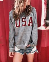 sweater,grey top,tumblr,sweatshirt,shorts,denim,denim shorts,distressed denim shorts,july 4th