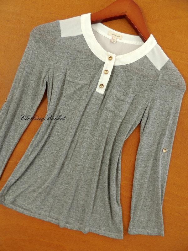 blouse knitted top t-shirt casual grey formal office look fashionista fashionista gold button long sleeve top