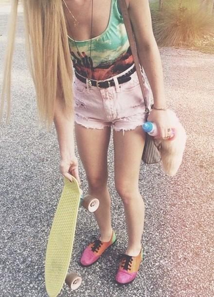 shoes tumblr clothes shirt shorts
