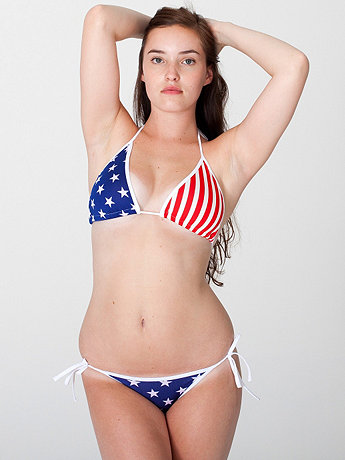 Printed Nylon Tricot Side-Tie Bikini Bottom - US flag | American Apparel