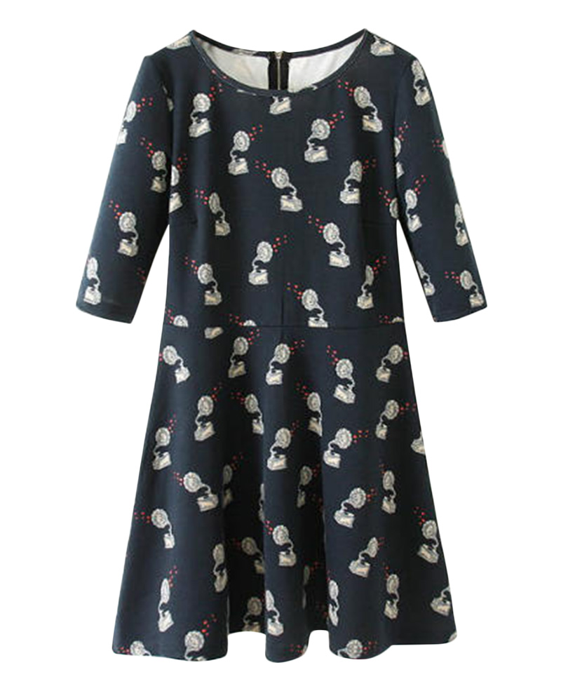 Sleeves phonographs print dress