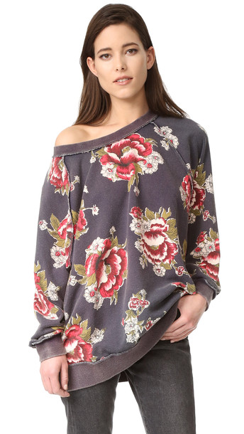 Free People Go On Get Floral Sweatshirt - Black