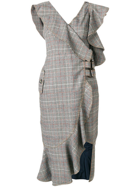 self-portrait dress ruffle dress ruffle women nude cotton