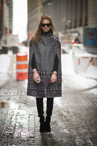 the blonde salad blogger cape wool embroidered fashion week 2015