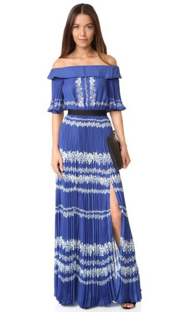 b122071431f73 Self Portrait Off Shoulder Maxi Dress - Cobalt Blue/Cream - Wheretoget