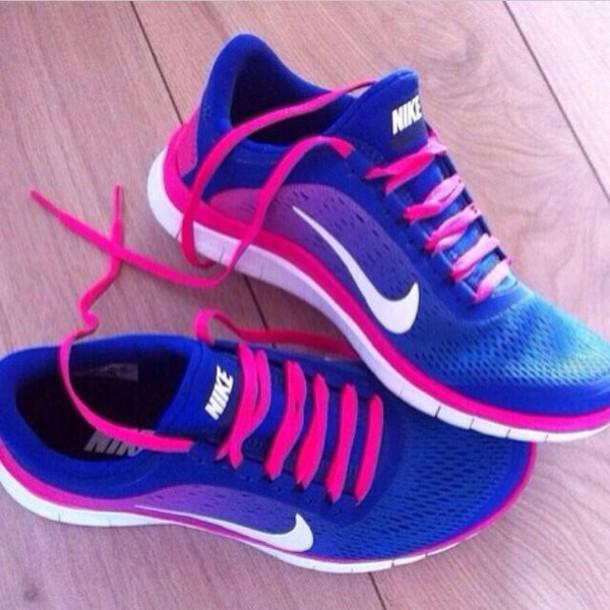 Nike Roshe Run Pink And Blue For Girls  77c6d19552