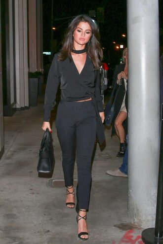 blouse all black everything pants selena gomez sandals skinny pants top long sleeves