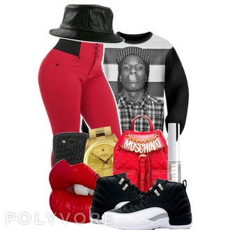 asap rocky red bag dope shoes
