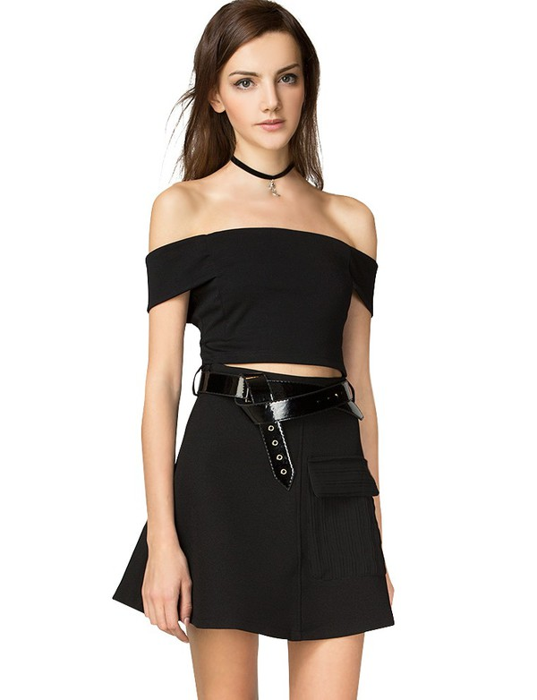 top fall outfits fall trends cute top off the shoulder cute crop top trendy tops black crop top 90s trend pre fall back to school fall outfits fall outfits transitional pieces affordable fashion pixie market pixie market girl