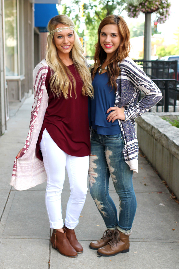 cardigan tribal pattern burgundy burgundy navy jeans top shoes jewels hair accessory